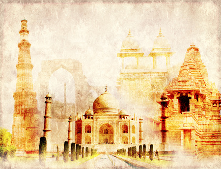 quitab: Grunge background with paper texture and landmarks of India - Taj Mahal, Qutub-Minar Tower, Lakshmana temple, Iron pillar, Amber Fort