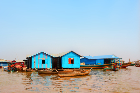 tonle sap: Houseboats and boats in floating village, Tonle Sap lake, Cambodia