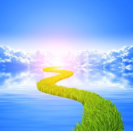 életmód: Jellegű háttér, fehér felhők, kék ég, nyugodt vízfelszín és a közúti, zöld fű Stock fotó