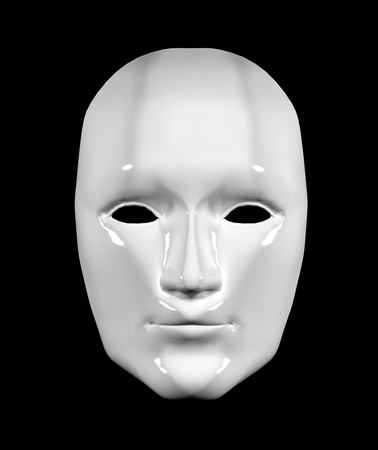 white mask: Human face mask of white color. Isolated on black background