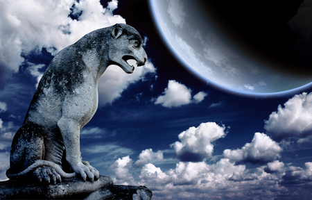 ancient lion: Ancient lion statue and bright moon in the night sky. Elements of this image furnished by NASA Stock Photo