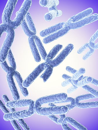 chromosomes: Broken X chromosome and full X chromosomes of blue color on abstract background