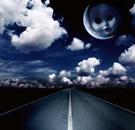 babie: Night landscape with road, clouds and moon with ghost evil doll face
