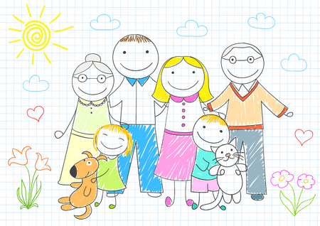 lineage: Happy family - mother, father, son, daughter, grandmother, grandfather. sketch on notebook page on doodle style