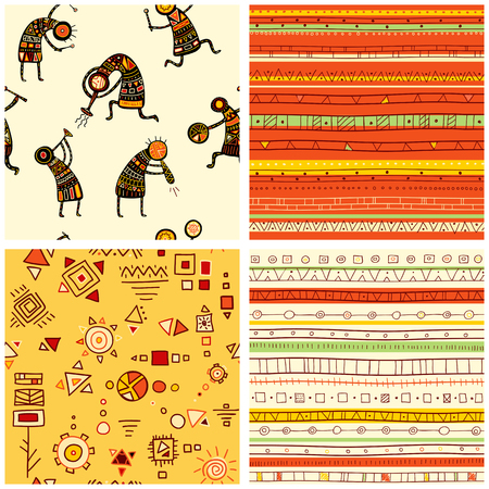 aboriginal woman: Collection of four seamless patterns with African ethnic patterns of yellow, orange, black and red color Illustration
