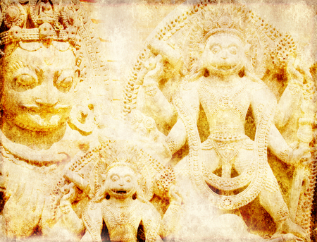 gods: Grunge background with paper texture and landmarks of India -  statues of Hindu gods Stock Photo