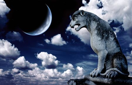 gargoyle: Ancient lion statue and bright moon in the night sky. Elements of this image furnished