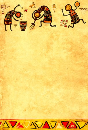 aboriginal woman: Grunge background with African ethnic patterns and paper texture of yellow color