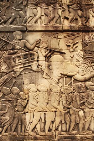 prasat bayon: Wall carving of Prasat Bayon Temple, in famous landmark Angkor Wat complex, khmer culture, Siem Reap, Cambodia