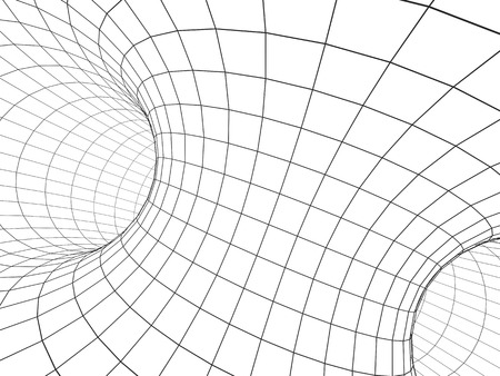 lines abstract: Abstract tunnel from a grid of grey color. Isolated on white background. 3d render