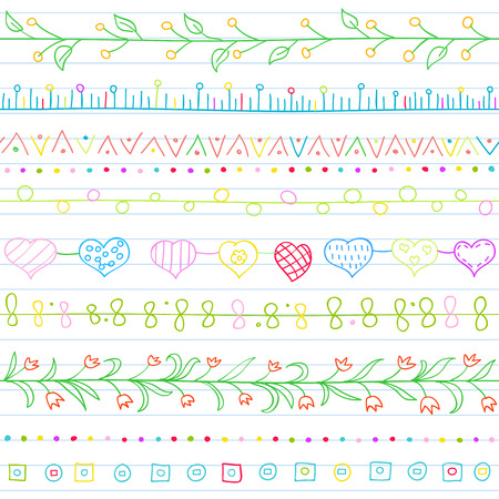 sketch child: Seamless background with borders in doodle style (included hearts, flowers, ivy, flags and geometric elements). Can be used for doodle Illustration