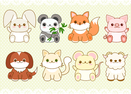 Collection of cute baby animals in kawaii style. Cat, dog, pig, rabbit, mouse, fox, panda, sheep. On retro background with dots pattern and lace