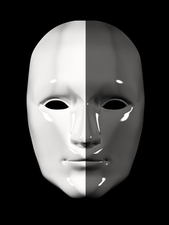 white mask: Human face mask of different colors - black and white. Isolated on black background Stock Photo