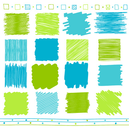 painted lines: collection of retro scribbled lines with  style of green and blue color