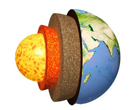 지구의 구조. 흰색 배경에 고립 된 모델입니다. 이 이미지의 요소가 제공됩니다. 3 차원 렌더링