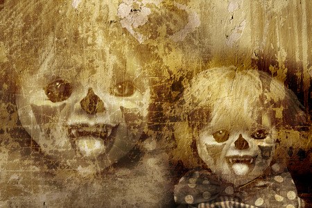 evil clown: Grunge Halloween background with old stucco wall texture and spooky clown Stock Photo