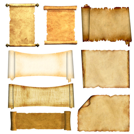 Collection of old scrolls and parchments. Isolated on white background. 3d render Archivio Fotografico
