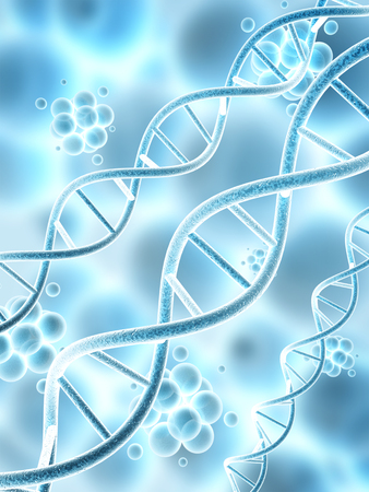 adenine: Digital 3d model of DNA structure and molecules Stock Photo