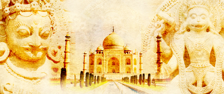gods: Grunge background with paper texture and landmarks of India - Taj Mahal, statues of Hindu gods
