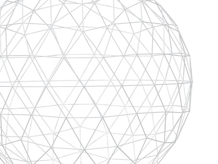Abstract white background with 3d lattice sphere. Isolated on white background