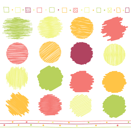 rotund: collection of retro scribbled circular lines with hand drawn style of green, orange, pink and red color