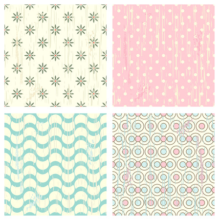 Set of four retro different seamless retro patterns (tiling) with grunge texture. Endless texture can be used for pattern fills, web page background, baby and scrapbooking design Illustration
