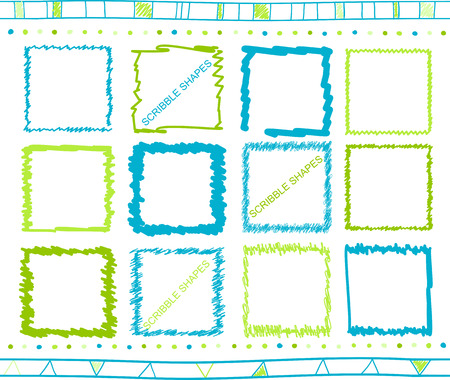 colour pencil: collection of retro scribbled square frames with  style of green and blue color