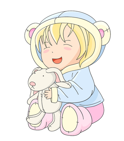 baby playing toy: Happy little baby in jacket with hood of blue color and soft boots of pink color, playing with toy rabbit. In kawaii style