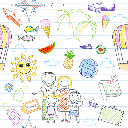 family vacation: Seamless background with happy family travelers - mom, dad and two children . Sketch on notebook page in doodle style. Endless texture can be used for pattern fills, web page background, baby and scrapbooking design Illustration