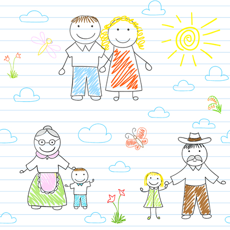 lineage: Seamless background with happy family - mother, father, son, daughter, grandmother, grandfather. sketch on notebook page on doodle style. Endless texture can be used for pattern fills, web page background, baby and scrapbooking design