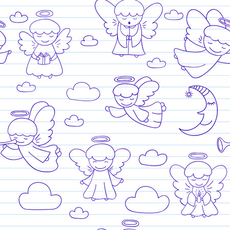 nimbus: Seamless background with little angels. Sketch on notebook page in doodle style. Endless texture can be used for pattern fills, web page background, baby and scrapbooking design