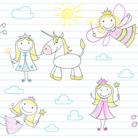 girl magic wand: Seamless background with happy fairies. Sketch on notebook page. Endless texture can be used for pattern fills, web page background, baby and scrapbooking design