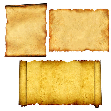 ancient papyrus: Collection of old scrolls and parchments. Isolated on white background. 3d render Stock Photo