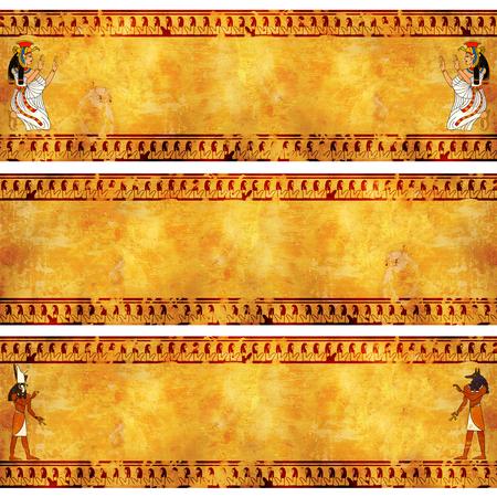 horus: Colecci�n de la bandera del grunge con im�genes de dioses egipcios en texturas de estuco. Isis, Anubis y Horus Foto de archivo