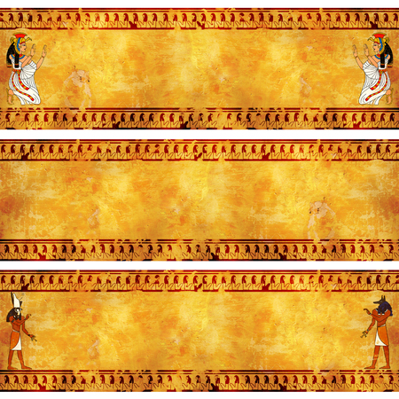anubis: Collection of grunge banner with Egyptian gods images on old stucco textures. Isis, Anubis and Horus