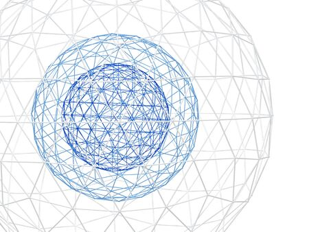 curve line: Abstract white background with three 3d lattice sphere. Isolated on white background Stock Photo
