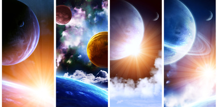 interplanetary: Set of vertical space banners with planets, nebula and stars. Elements of this images furnished