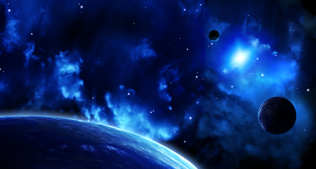 interplanetary: A beautiful space scene with sun, planets and nebula. Elements of this image furnished Stock Photo