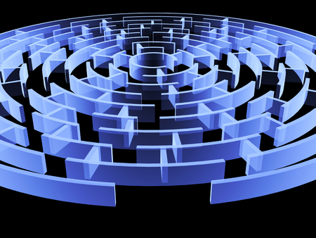 Circular 3d maze of blue color. Isolated on black background Stock Photo