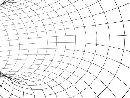 通信: グレー色のグリッドから抽象的なトンネル。白い背景上に分離。3 d のレンダリング