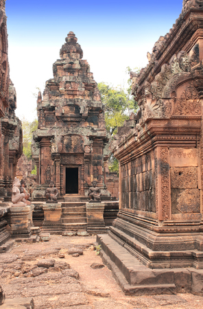 animal figurines: Site of Banteay Srei Temple (Pink Temple) in famous landmark Angkor Wat complex, khmer culture, Siem Reap, Cambodia. Stock Photo
