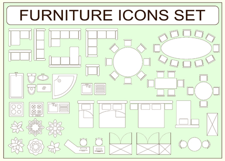 floor: Set of simple furniture vector icons as design elements - sofa, table, computer desk, sink, bathtub, toilet, stove, wardrobe, bed, chair, washing machine, plants, armchair Illustration