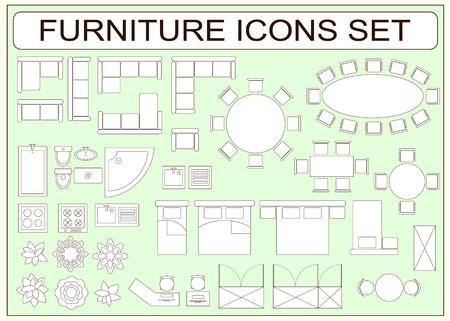 Set van eenvoudig meubilair vector iconen als design elementen - bank, tafel, computer bureau, wastafel, bad, toilet, kachel, kledingkast, bed, stoel, wasmachine, planten, leunstoel