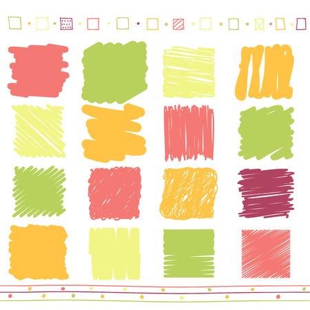 garabatos: Colección de vector de retro garabateó con líneas de estilo dibujado a mano de color verde, naranja, rosa y el rojo