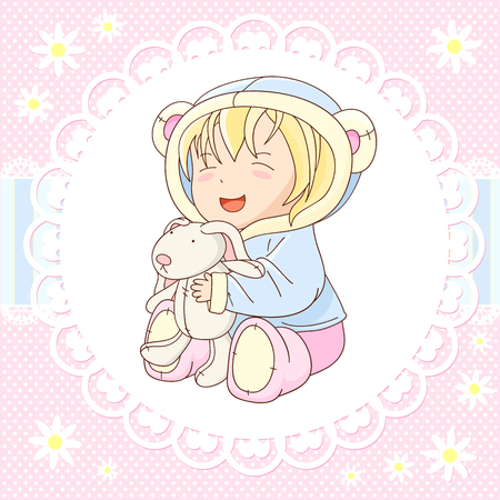 baby playing toy: Vector background with happy little baby in jacket with hood of blue color and soft boots of pink color, playing with toy rabbit. In kawaii style