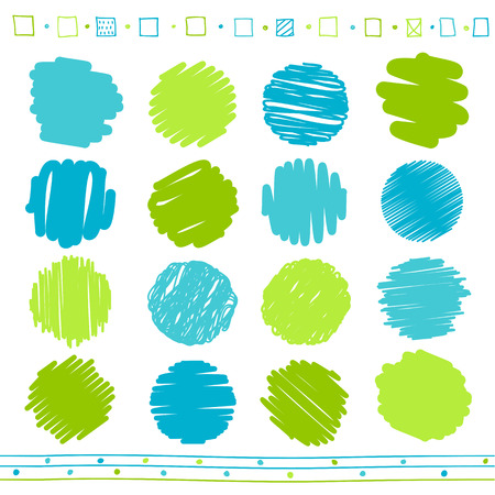 Colección de vector de retro garabateó líneas circulares con estilo dibujado a mano de los colores verde y azul