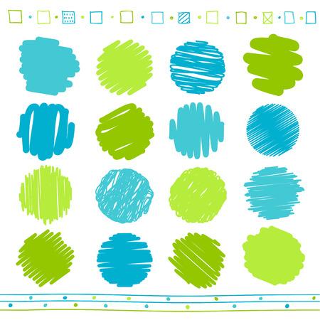Insieme vettoriale di retrò scarabocchiato linee circolari con stile disegnato a mano di colore verde e blu