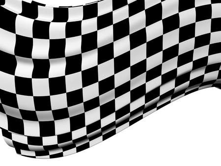 checkered: Sports background - abstract checkered flag. Isolated on white background. 3d render