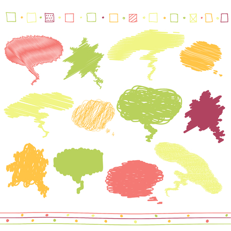 Vector collection of scribbled speech bubbles with hand drawn style of yellow, red, orange and green colors