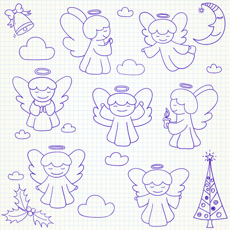 singing bells: Set of vector Christmas angels and ornaments in doodle style (included xmas tree;  mistletoe; angels; bell;  pine; crescent, clouds). Can be used for xmas or winter design